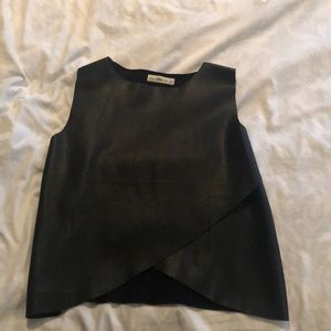 Black ZARA leather top (not real leather)